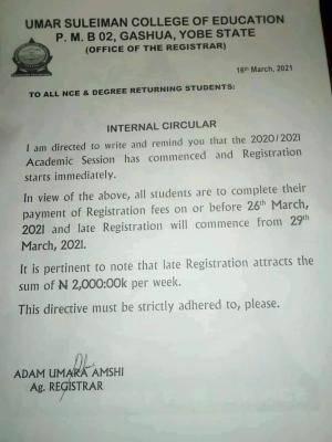 Umar Suleiman College of Education notice on Registration deadline, 2020/2021