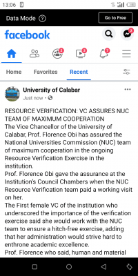 UNICAL VC assures NUC team of maximum co-operation in the ongoing verification exercise