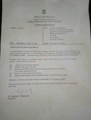 RSUT notice on Christmas break