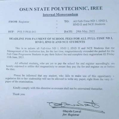 OSPOLY school fees payment deadline for ND I HND 1, HND II and NCE Students