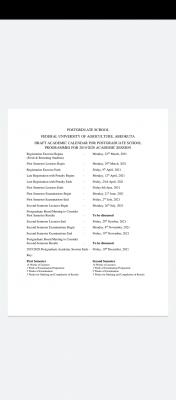 FUNAAB postgraduate academic calendar for 2019/2020 session