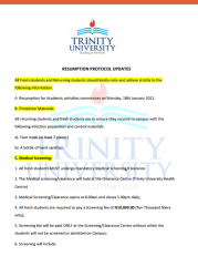 Trinity university list out resumption requirements to students amidst covid-19