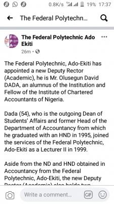 Federal polytechnic. Ado-Ekiti gets new deputy Rector