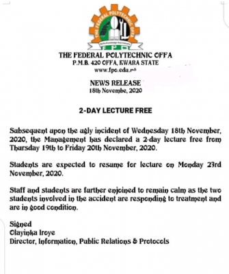FEDPOLY Offa declares 2-day lecture free, announces resumption date-for-lectures
