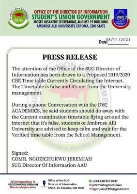AAU SUG notice on fake exam timetable