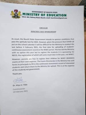 Bauchi state notice on SSCE Sponsorship, 2020/2021 session