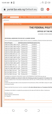 OFFAPOLY batch 4th ND admission list for 2020/2021 session