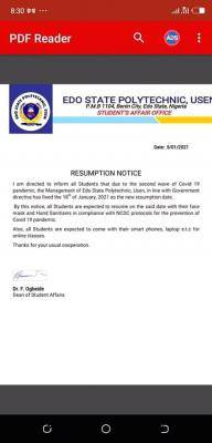Edo State Polytechnic notice on resumption