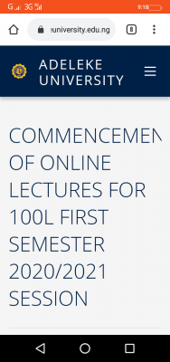 Adeleke University notice on commencement of online lectures for 100 level students