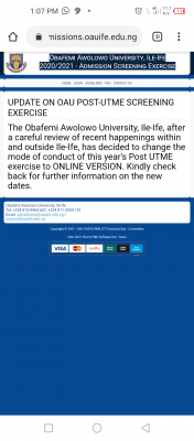 OAU 2020 Post-UTME screening to hold online, new date to be announced