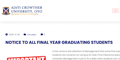 Ajayi Crowther University notice to final year students