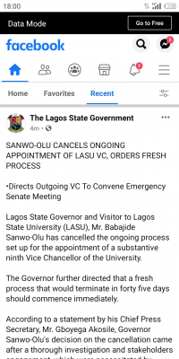 Sanwo-Olu cancels ongoing appointment of LASU VC orders a fresh process