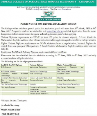 Federal College of Agriculture Produce Technology, Kano admission forms, 2020/2021