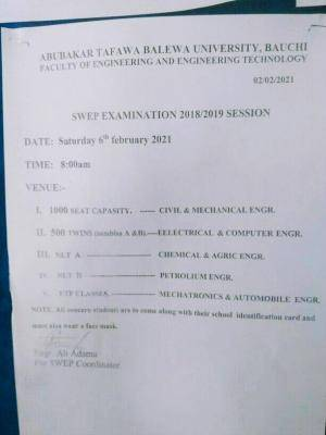 ATBU Faculty of Engineering SWEP exams venues, 2018/2019