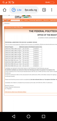 Federal Poly Offa 3rd batch HND admission list for 2020/2021 session