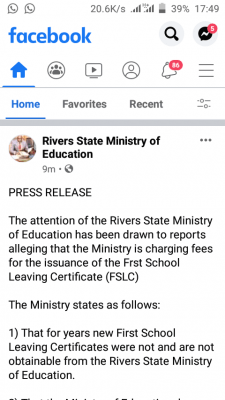 Rivers State disclaims rumour on charges for First School Leaving Certificate