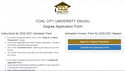 Coal City University Post-UTME 2020: Cut-off mark, eligibility and Registration details