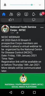 NYSC notice to 2020 Batch B stream II prospective corps members
