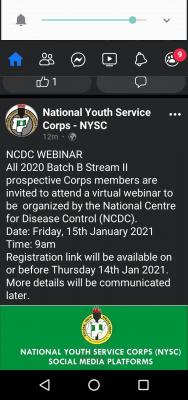 NYSC notice to 2020 Batch B stream II prospective corps members
