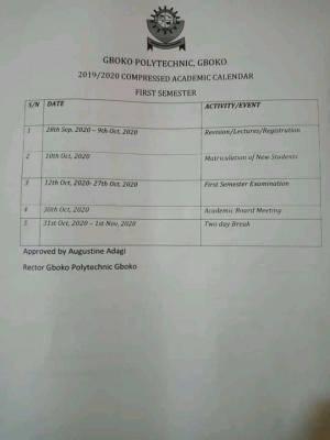 Gboko polytechnic, gboko, Benue state academic calendar