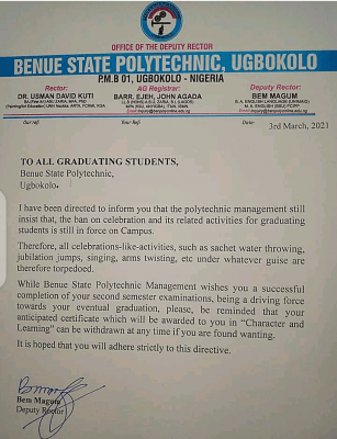 Benue State Poly notice to graduating students