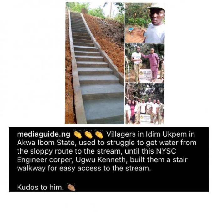 Corps member warm hearts after building a stair walkway for a community