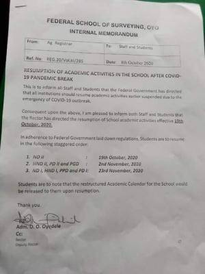 Federal school of surveying Oyo resumption date