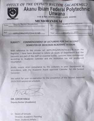 Akanu Poly Uwana notice on commencement of 2nd semester lectures, 2019/2020