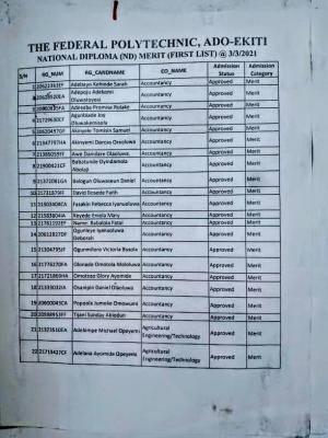 Fed Poly Ado-ekiti admission list, 2020/2021 now on the school's notice board