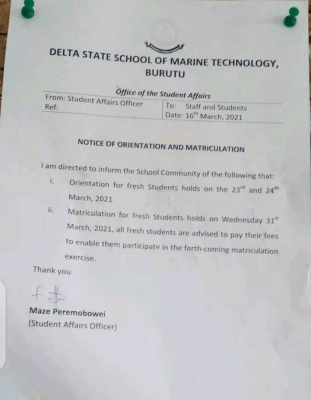DESOMATECH notice on orientation and matriculation of new students, 2020/2021