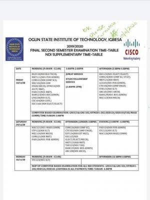 OGITECH NDI 2nd semester exam timetable for 2019/2020 session