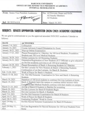 Babcock University adjusted academic calendar, 2020/2021