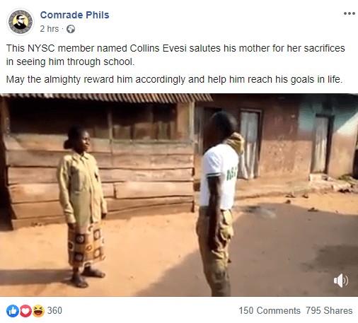Corps Member Honours his Poor Mother who saw him Through School with a ''Parade and Salute'' as he Returns Home from Camp