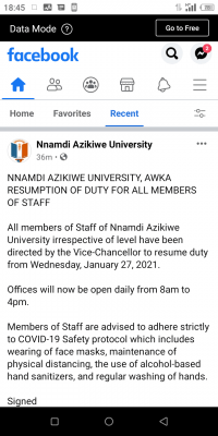 UNIZIK notice on resumption of duty for all members of staff