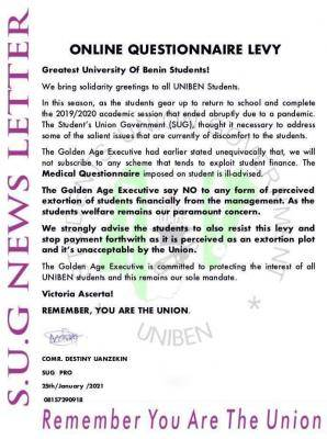UNIBEN SUG notice to students on the proposed Questionnaire Levy by management
