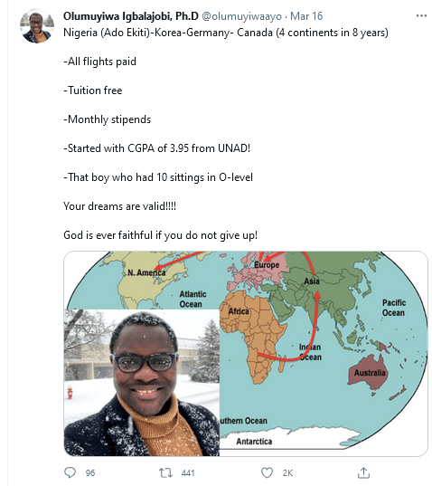 A Nigerian man who wrote WAEC 10 times celebrates himself after traveling to 3 continents on scholarship