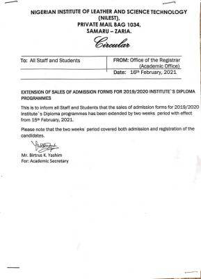 NILEST extends sales of Diploma admission form for 2019/2020 session