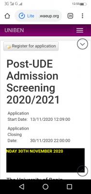 UNIBEN Direct Entry Admission Screening Registration for 2020/2021 session
