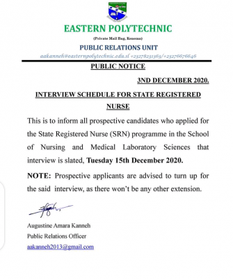 Eastern Polytechnic releases interview schedule for SRN programme