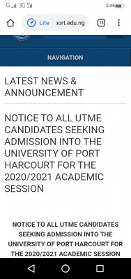 UNIPORT 2020 Post-UTME screening result and notice to candidates