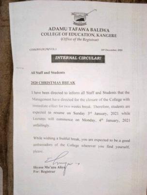 Adamu Tafawa Balewa COE, Kangere notice on Christmas Break