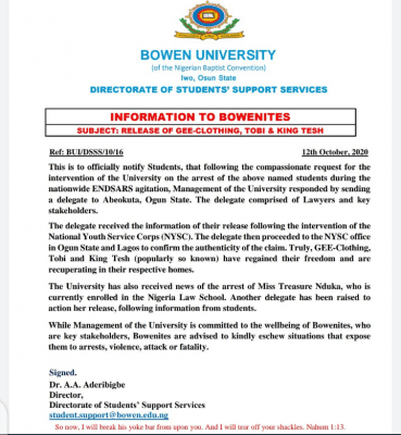 Bowen University notice on the release of arrested students during #EndSars Protest