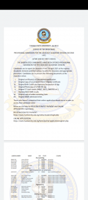 TASU 2nd batch admission list for 2020/2021 session