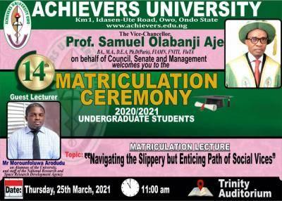 Achievers University announces matriculation ceremony, 2020/2021