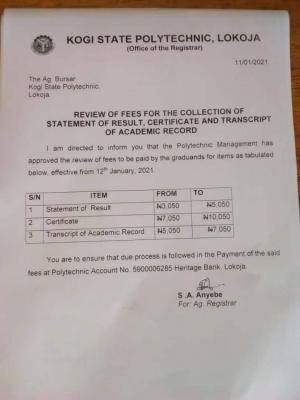 Kogi State polytechnic notice on fees to be paid by graduating students