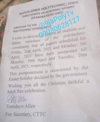 RUGIPOLY postpones examinations due to Easter break
