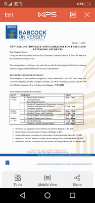 Babcock University new resumption date and guidelines for fresh and returning students, 2020/2021 session