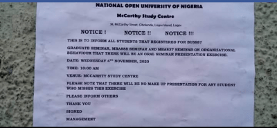 NOUN Mccarthy study centre notice to students