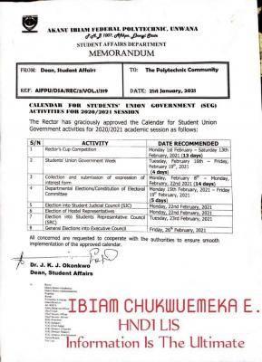 Akanu Ibiam Polytechnic calendar for SUG activities, 2020/2021