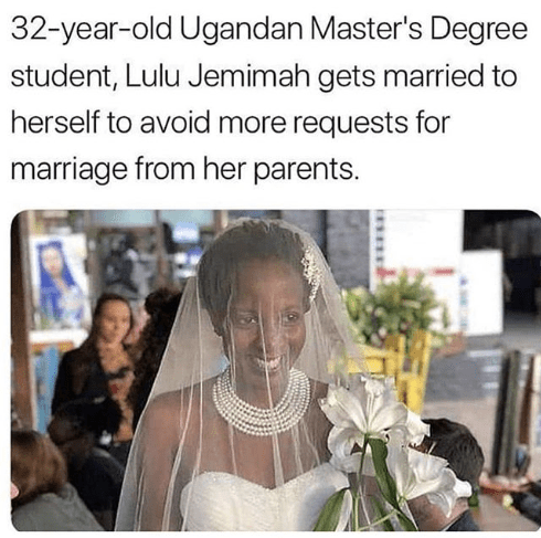 Lol. Student Marries Herself to Avoid Marriage Pressure